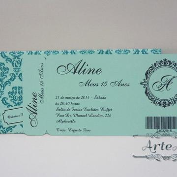 Convite Ticket com envelope impresso