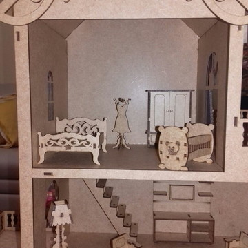 Casinha de boneca mobiliada mdf