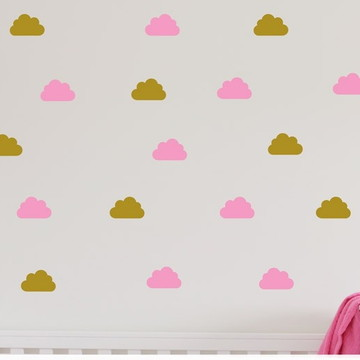 Adesivo nuvens rosa/dourado