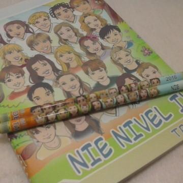 Kit caderno + 2 Lápis personalizados