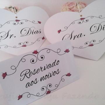 Kit Placas Personalizadas Casamento