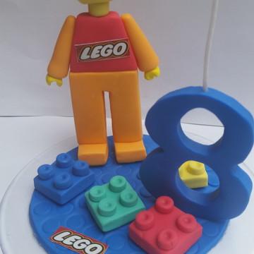 Topo de bolo + vela Lego