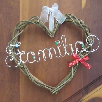 Guirlanda Família - Cipó e Arame - Decoração da Casa