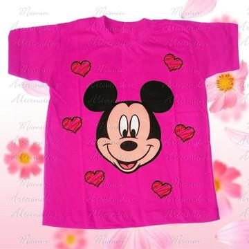 Camiseta Mickey corações pink