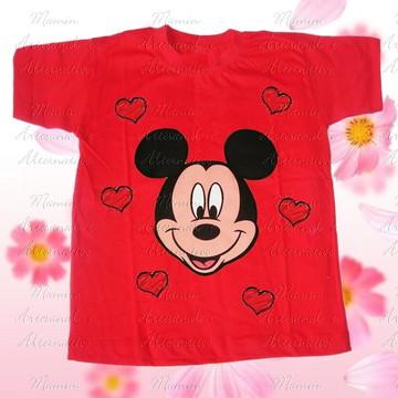 Camiseta Mickey corações Vermelha