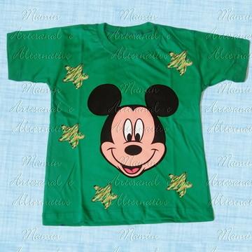 Camiseta Mickey Estrelas Verde