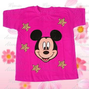 Camiseta Mickey Estrelas Pink