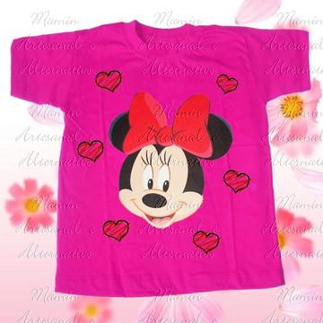 Camiseta Minnie corações Pink