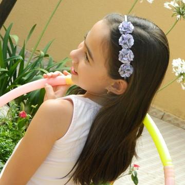 Tiara Flores Lilás e Prata