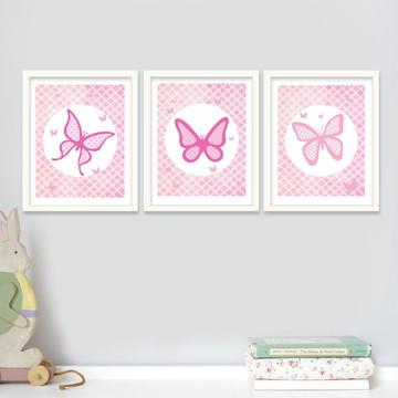 Trio quadros meninas borboletas em rosa