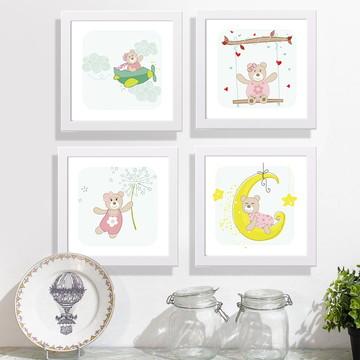 Conj. 4 quadros infantis tema Ursinhas