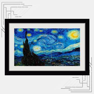Quadro Noite Estrelada 65x45cm Van Gogh Pintores Famosas