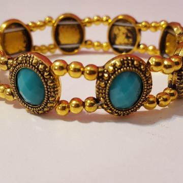 Bracelete Dourado com Cabochão Turquesa