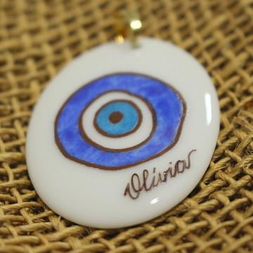 Pingente Porcelana Olho Grego