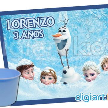 Rótulo para Baldinho de Pipoca Frozen