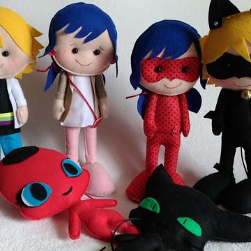 Ladybug 4 personagens + Tikki e Plagg