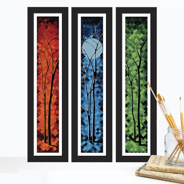 Trio de quadros Árvores Abstratas