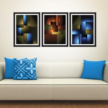 Trio de quadros abstratos luz e sombra