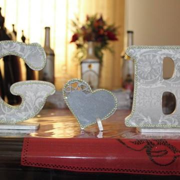 Letras em mdf decorado para casamentos