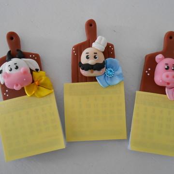 Mini calendário Tábua de carne.