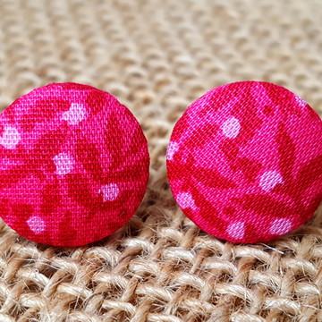 Brinco de Botão Rosa Floral