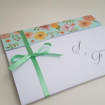 Convite floral colorido para casamento