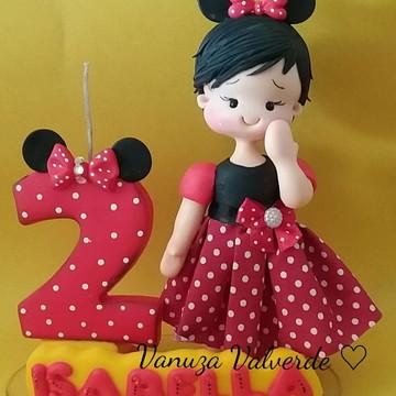 Topo de bolo Minnie em biscuit