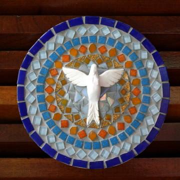 Mandala Divino em mosaico azul