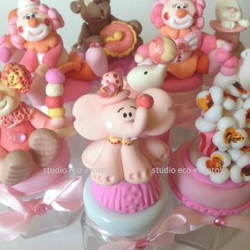 Decoração circo rosa - potes