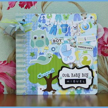 Mini Álbum Chipboard 1 Ano Bebê Menino