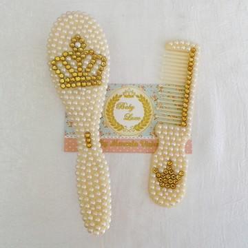 Escova e Pente Luxo c/ Cristais Dourado