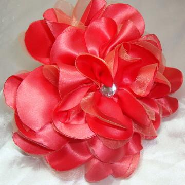 Presilha Flor para Cabelo Coral