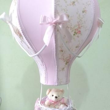lustre balão pendente floral rosa personalizado com nome