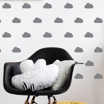 Adesivo mini nuvens cinza