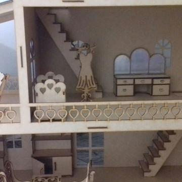 Casa Boneca 1,2m Mdf com 20 mini móveis