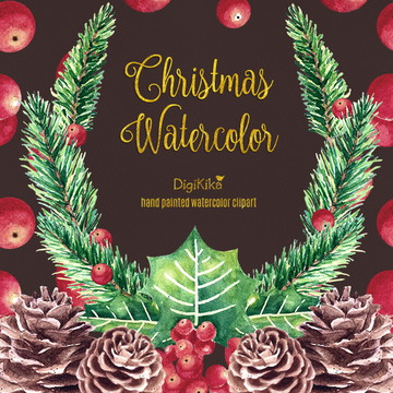 Clipart Natal Aquarela