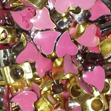 Berloque coração rosa