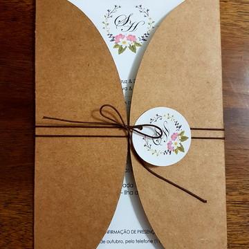 Convite de casamento rústico Guirlanda