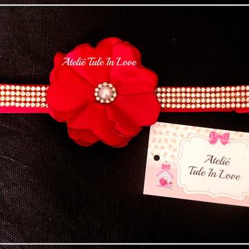 Tiara de flor de cetim