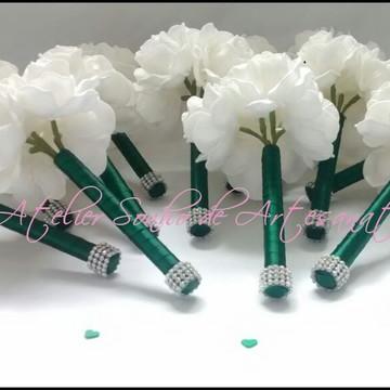 Mini Buquê para Madrinhas - Branco e Verde com Strass
