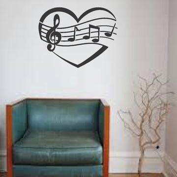 Adesivo parede coração notas musicais