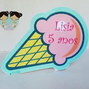 Placa de mesa festa sorveteria