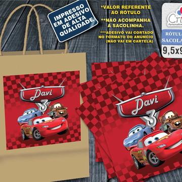 Adesivo Sacola Kraft - Carros da Disney
