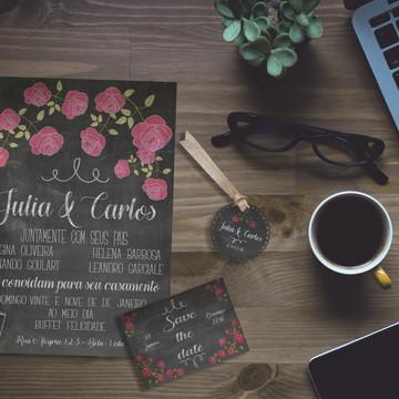 Kit Casamento Convite tipo Lousa