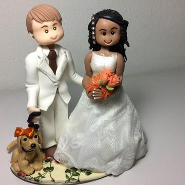 Topo de Bolo Casamento em biscuit com cachorro