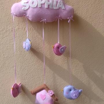enfeite maternidade nuvens passarinho