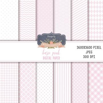 Kit de papéis digitais básicos - Rosa