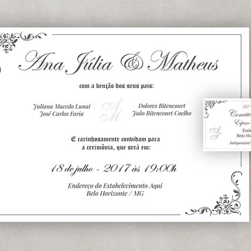 Convite de Casamento Clássico Digital