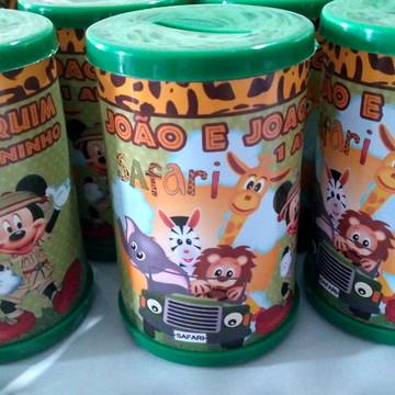 cofrinho personalizado mickey safari