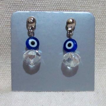 Brinco Olho Grego e Cristal Azul